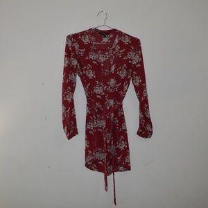 Burgundy long sleeve floral dress with belt